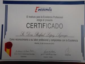Certificado Instituto Excelencia profesional