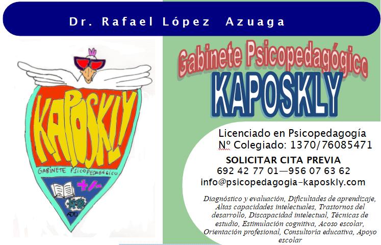 Gabinete Psicopedagógico Kaposkly - tarjeta de visita